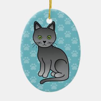 Ornamento De Cerâmica Ilustração de assento do gato da raça de Korat