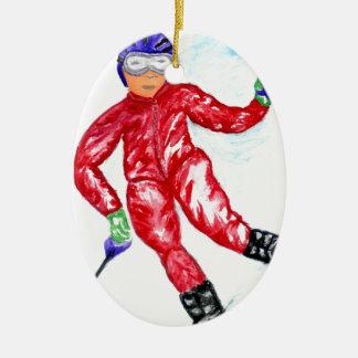Ornamento De Cerâmica Ilustração do esporte do esquiador