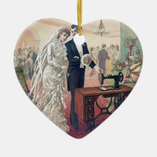 Ornamento De Cerâmica Ilustração dos noivos do vintage