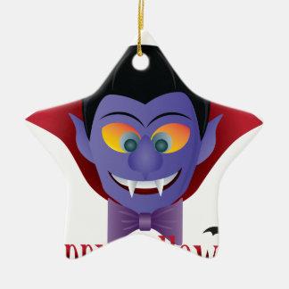 Ornamento De Cerâmica Ilustração feliz de Dracula da contagem do Dia das
