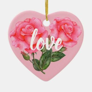 Ornamento De Cerâmica Ilustração floral botânica do rosa do rosa da
