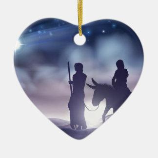 Ornamento De Cerâmica Ilustração Mary e Joseph do Natal da natividade