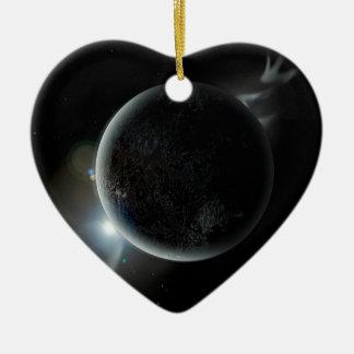 Ornamento De Cerâmica ilustração preta do planeta 3d no universo