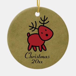 Ornamento De Cerâmica Ilustração vermelha da rena do Natal