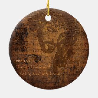Ornamento De Cerâmica Imagem de Jesus e verso de John