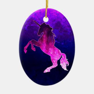 Ornamento De Cerâmica Imagem sparkly do unicórnio bonito cor-de-rosa da