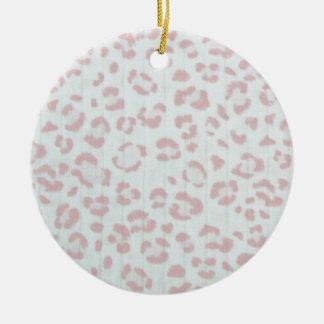 Ornamento De Cerâmica impressão animal da selva da chita do rosa de bebê