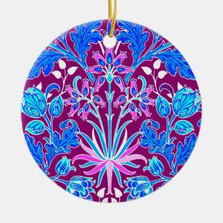 Ornamento De Cerâmica Impressão, Aqua e roxo do jacinto de William