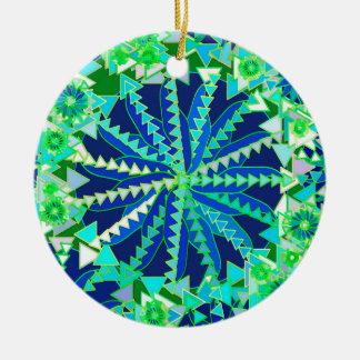 Ornamento De Cerâmica Impressão, azuis cobaltos e verde tribais da