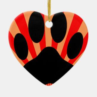 Ornamento De Cerâmica Impressão brilhante da pata do cão