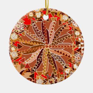 Ornamento De Cerâmica Impressão, Brown, bege e vermelho tribais da