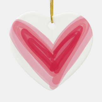 Ornamento De Cerâmica Impressão cor-de-rosa bonito do coração, amor