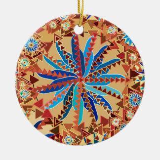Ornamento De Cerâmica Impressão da mandala, camelo Tan e azul tribais da