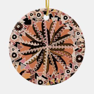 Ornamento De Cerâmica Impressão da mandala, Taupe Tan e bege tribais