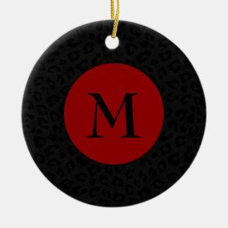 Ornamento De Cerâmica Impressão da pantera do monograma