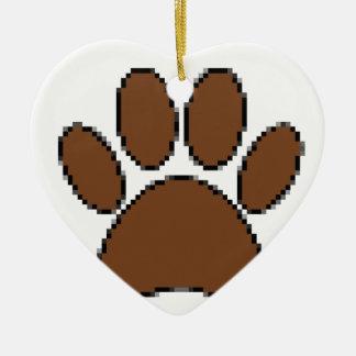 Ornamento De Cerâmica Impressão da pata do cão do pixel