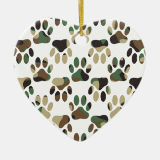 Ornamento De Cerâmica Impressão da pata do cão do teste padrão de Camo