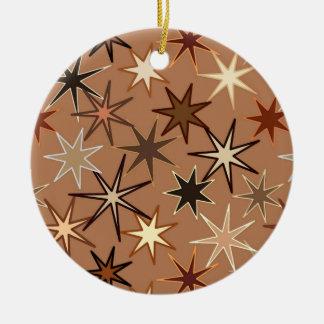 Ornamento De Cerâmica Impressão de Starburst, café Brown e bege modernos