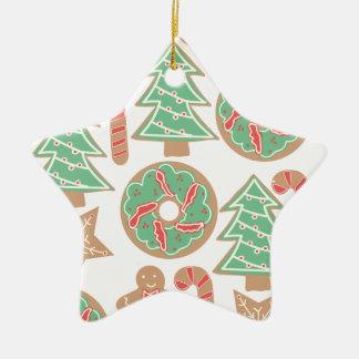 Ornamento De Cerâmica Impressão do cozimento do Natal