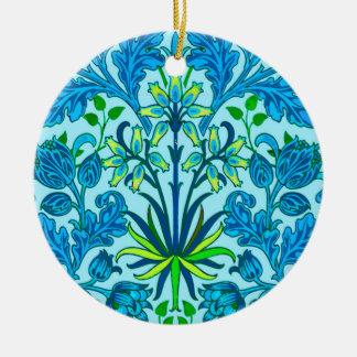 Ornamento De Cerâmica Impressão do jacinto de William Morris, azul