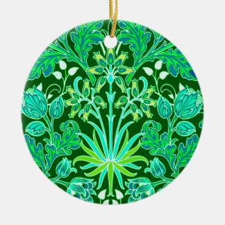 Ornamento De Cerâmica Impressão do jacinto de William Morris, verde