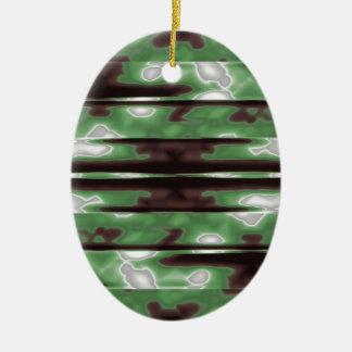 Ornamento De Cerâmica Impressão do teste padrão de Camo das listras