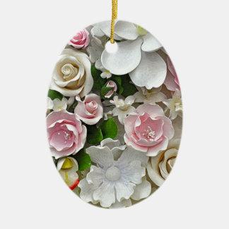 Ornamento De Cerâmica Impressão floral do rosa e o branco