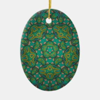 Ornamento De Cerâmica Impressão legal do verde da floresta húmida