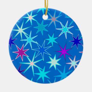 Ornamento De Cerâmica Impressão moderno de Starburst, azul Cerulean