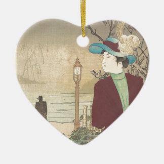 Ornamento De Cerâmica Impressão policromo japonês do woodblock