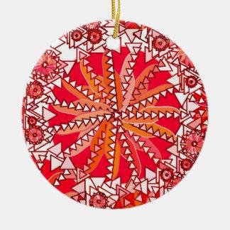 Ornamento De Cerâmica Impressão tribal da mandala, vermelho e branco