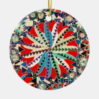Ornamento De Cerâmica Impressão, vermelho, azul e creme tribais da