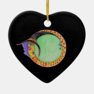 Ornamento De Cerâmica Infinidade preta o Dia das Bruxas da lua da bruxa