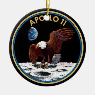 Ornamento De Cerâmica Insígnias lunares do remendo da aterragem de lua