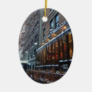 Ornamento De Cerâmica Inverno superior NYC da Nova Iorque dos sincelos
