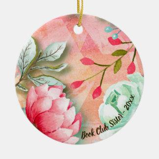 Ornamento De Cerâmica Irmã floral do clube de leitura da flor elegante