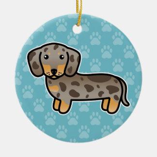 Ornamento De Cerâmica Isabella e Tan Dapple o cão liso do Dachshund do