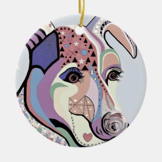 Ornamento De Cerâmica Jack Russell Terrier em cores da sarja de Nimes