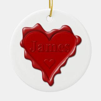 Ornamento De Cerâmica James. Selo vermelho da cera do coração com James