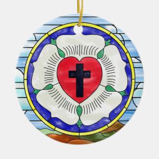 Ornamento De Cerâmica Janela de vitral do selo de Luther