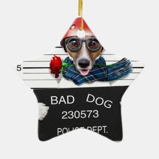 Ornamento De Cerâmica Jaque engraçado russell, cão do Mugshot