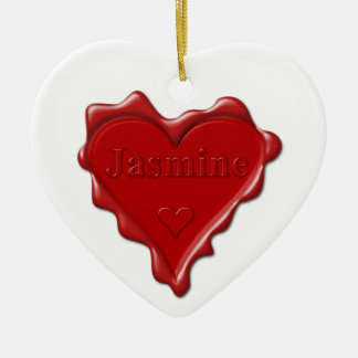 Ornamento De Cerâmica Jasmim. Selo vermelho da cera do coração com