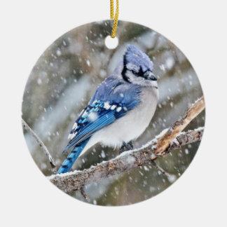 Ornamento De Cerâmica Jay azul em uma tempestade de neve