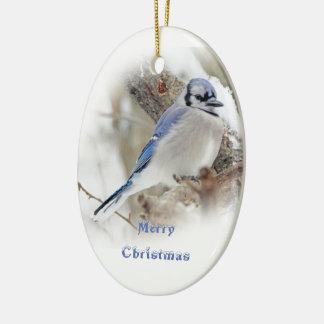 Ornamento De Cerâmica Jay azul na neve do inverno