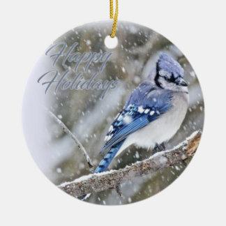 Ornamento De Cerâmica Jay azul no feriado do Natal da neve