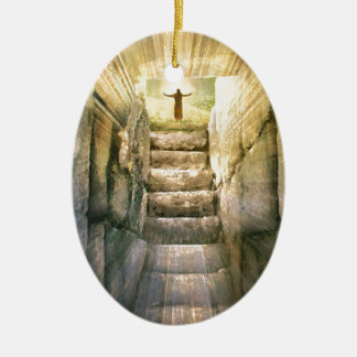Ornamento De Cerâmica Jesus na ressurreição vazia da páscoa do túmulo