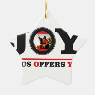 Ornamento De Cerâmica Jesus oferece-lhe a etiqueta da alegria