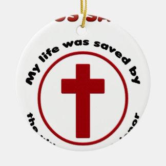 Ornamento De Cerâmica jesus salvar, camisa cristã do presente t da
