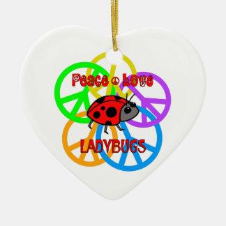 Ornamento De Cerâmica Joaninhas do amor da paz