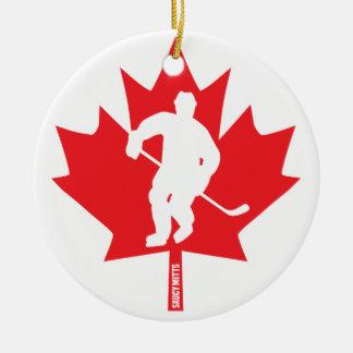 Ornamento De Cerâmica Jogador da folha de bordo do hóquei de Canadá